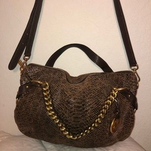 MICHAEL KORS brown snakeskin genuine soft leather
